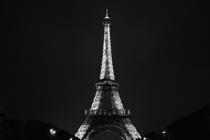 The Eiffel Tower is breathtaking at night.