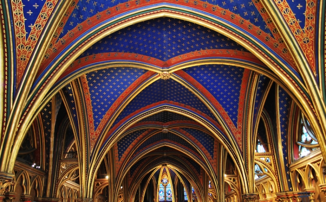 Inside the beautiful Sainte Chapelle chapel