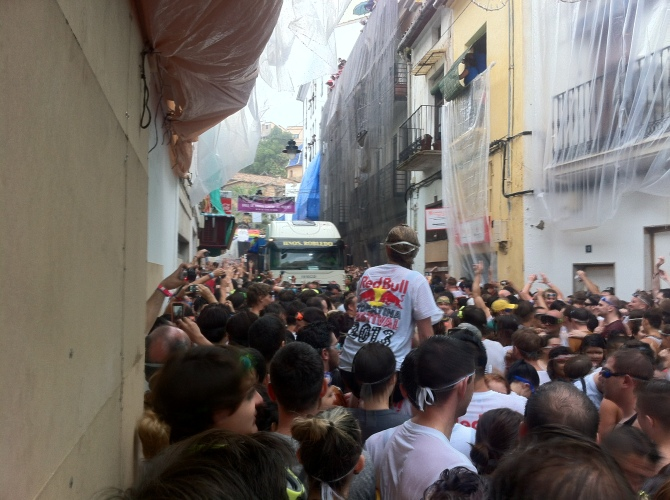 The festival begins with the first truck making its' way down the very narrow streets.
